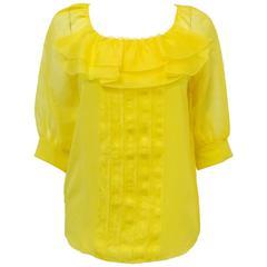 Oscar de la Renta Lemon Silk Blouse With Ruffles and Raglan Sleeves