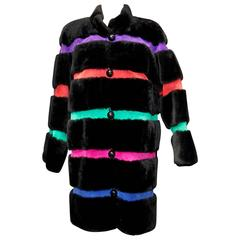 1980s Yves Saint Laurent Coat in Black Fur and Stripes of Multicolored Suede