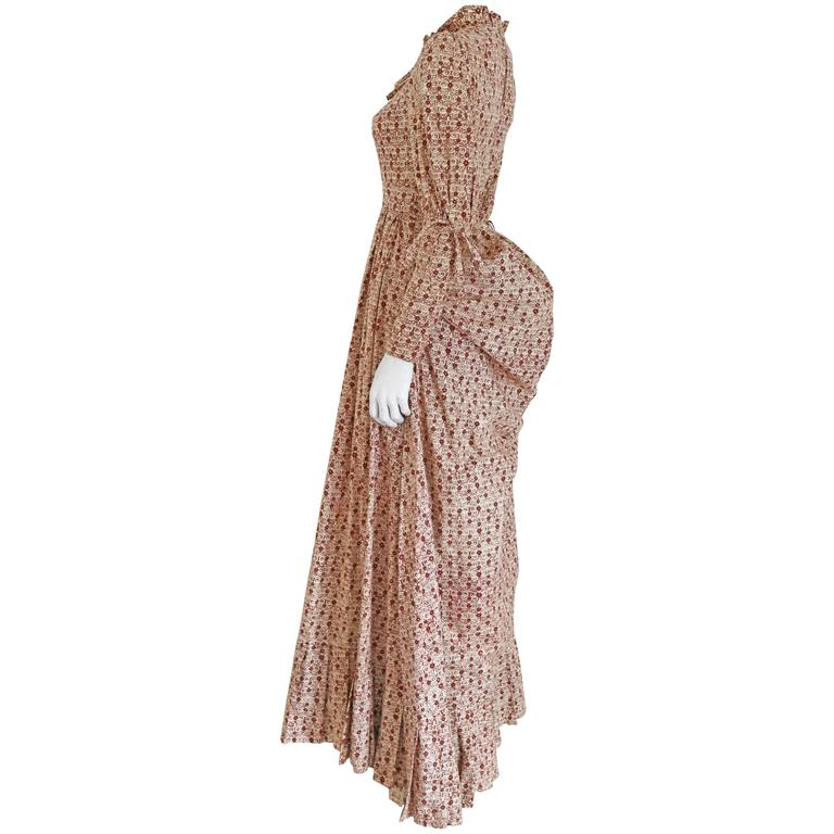 Laura Ashley cotton evening dress with bustle, c. 1970s