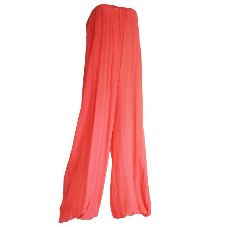 Quorum pink silk chiffon harem jumpsuit, c. 1970s