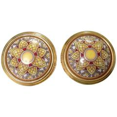 Vintage Hermes round shape cloisonne enamel golden earrings with mosaic flower