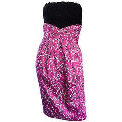 Liancarlo Neiman Marcus Vintage Pink Black White Leopard Print Strapless Dress