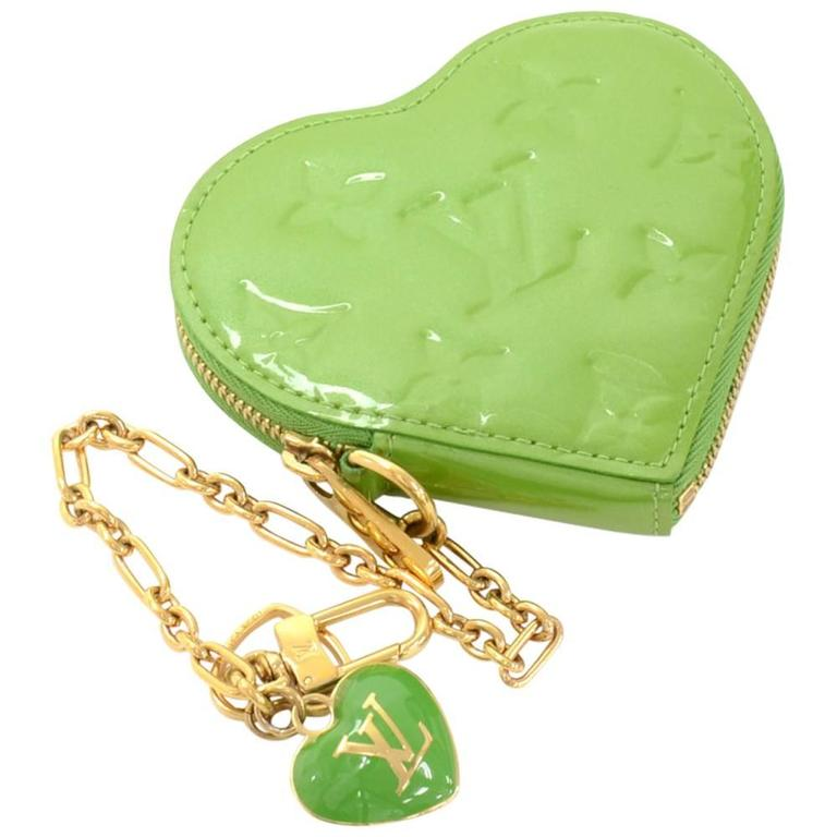 Louis Vuitton Porte Monnaies Cruer Green Pepermint Vernis Heart Shaped Coin Case 1