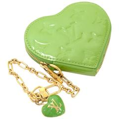 Louis Vuitton Porte Monnaies Cruer Green Pepermint Vernis Heart Shaped Coin Case
