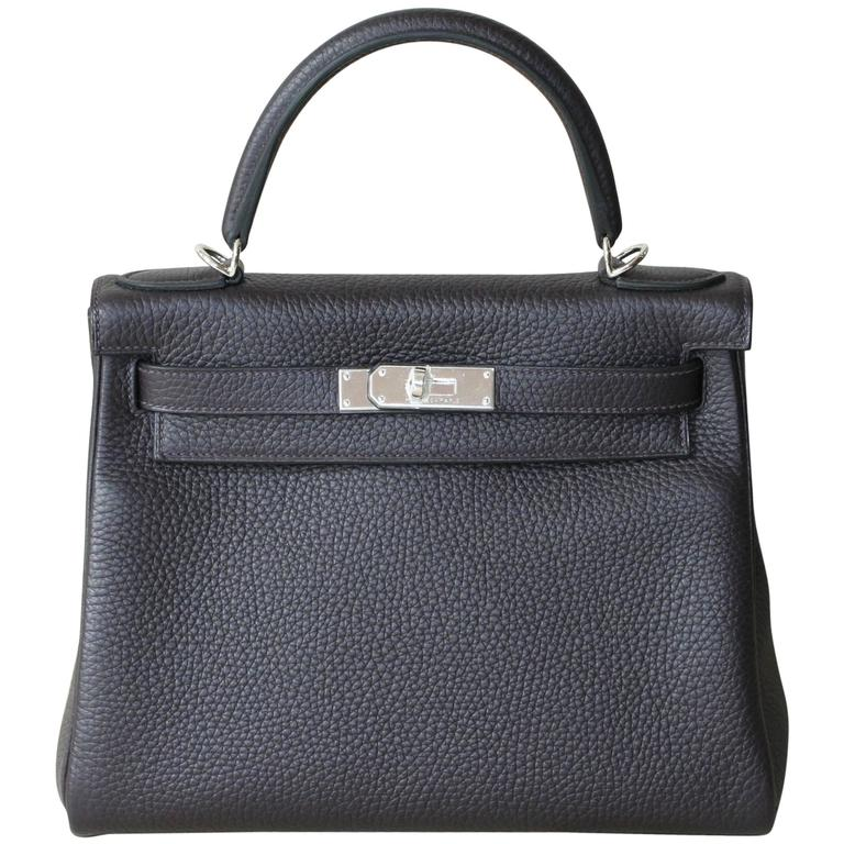 HERMES Kelly Prunoir Clemence 28' For Sale