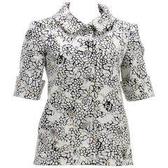 Chanel White Multicolor Short Sleeve Applique Jacket (Size 36)