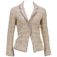 Chanel Pink Multicolor Knit Fringe One Button Jacket 04P (Size 36)
