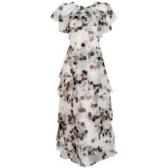 2005 Carolina Herrera Polka-Dot Tiered Silk Strapless Trained Gown & Capelet
