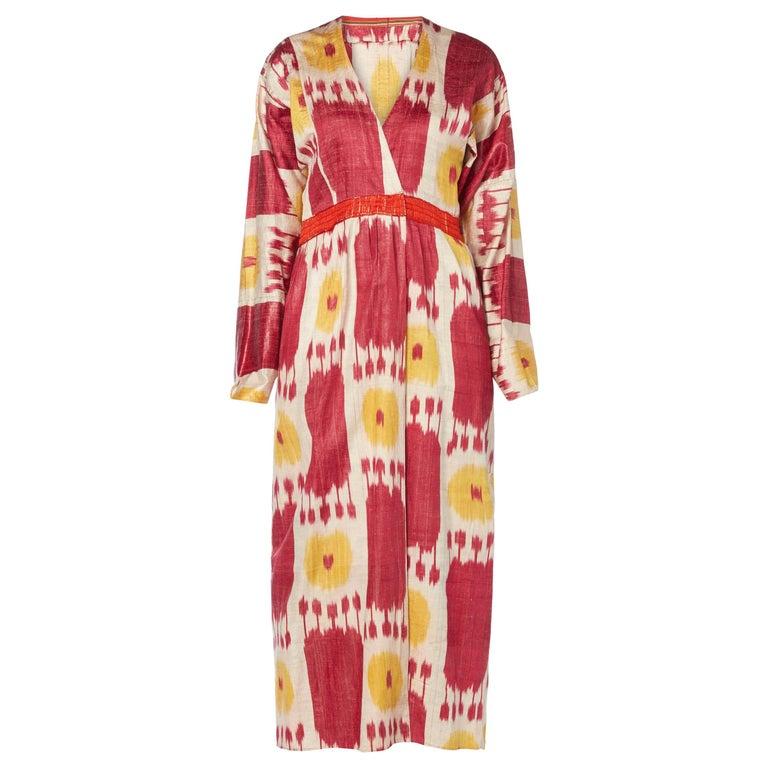Great Unknown red & yellow Ikat print robe, circa 1900