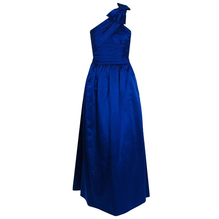 1950's Elegant Sapphire Blue Satin Pleated One-Shoulder Bow Evening Formal Gown