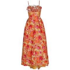 1950's Emma Domb Rose-Garden Floral Cotton & Satin Applique Sequin Formal Gown