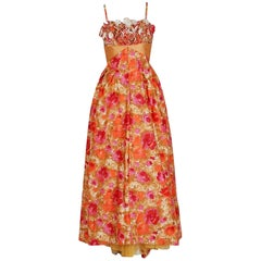 1950's Emma Domb Rose-Garden Floral Cotton & Satin Applique Sequin Gown