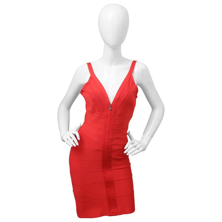 Herve Leger Red Bandage Dress W/ Front Zipper For Sale
