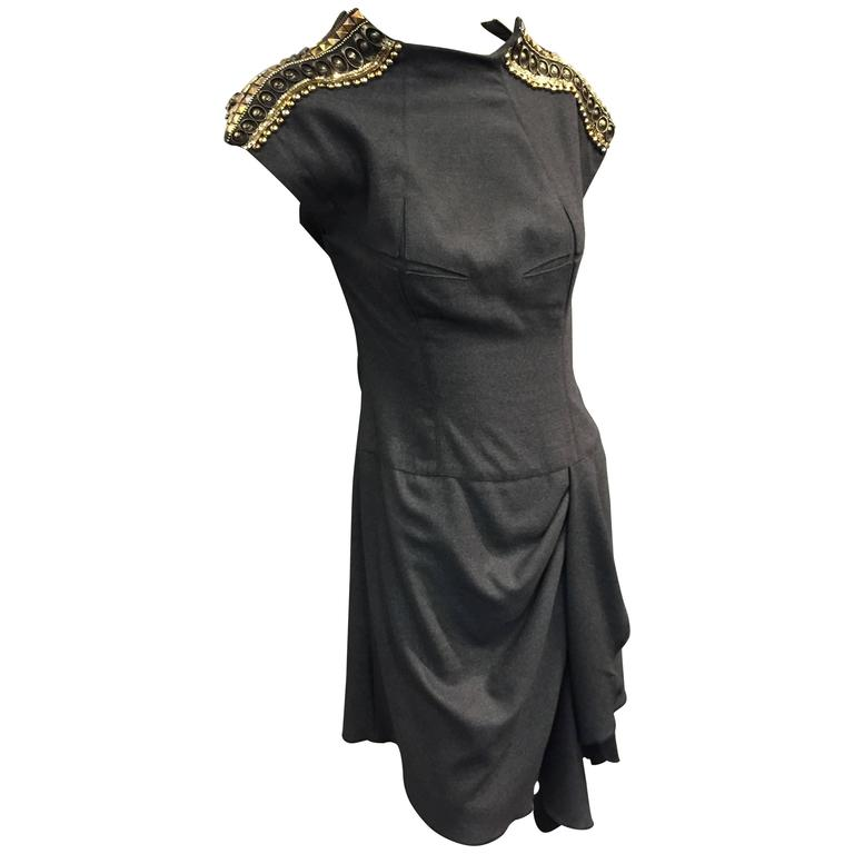 Jean Paul Gaultier Gray Flannel Cocktail Dress w/ Studded Zipper Shoulders