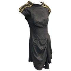 Jean Paul Gaultier Gray Flannel Cocktail Dress w/ Studded Zipper Shoulders