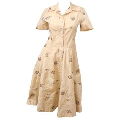 Christian Dior S/S Button Down Dress With Floral Detail