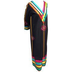 1970s Josefa Hand-Crafted Cotton Caftan with Rainbow Ribbon Trim and Embroidery