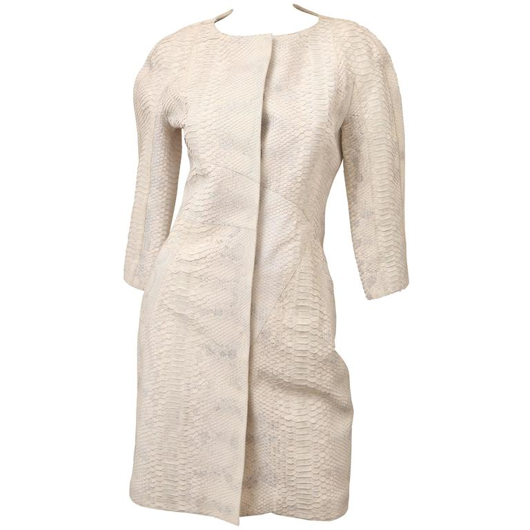 2008 Christian Dior Ivory Python 3/4 Sleeve Evening Coat