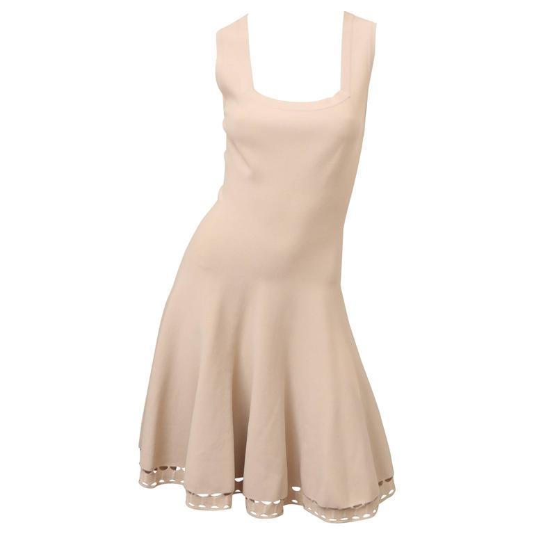 ALAIA S/L Beige Fit n Flare Square Neck Dress W/ Cut out Detail at Hem