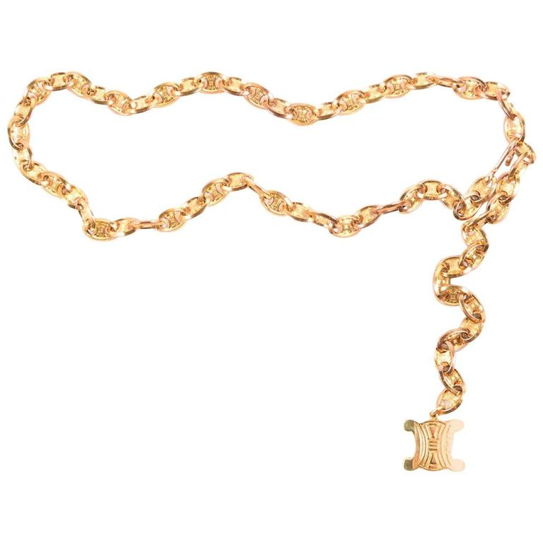 Celine Vintage Gold Logo Chain Link Charm Waist Belt  For Sale
