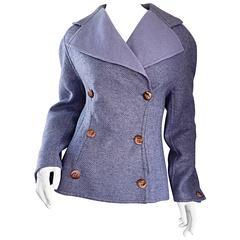 Bernard Perris Vintage Lilac Lavendar Purple Lambswool Peacoat Jacket Size 10 12