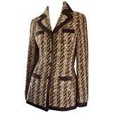 Rena Lange Brown & Ivory Boucle Fantasy Tweed Vintage 90s Blazer Jacket Sz 34