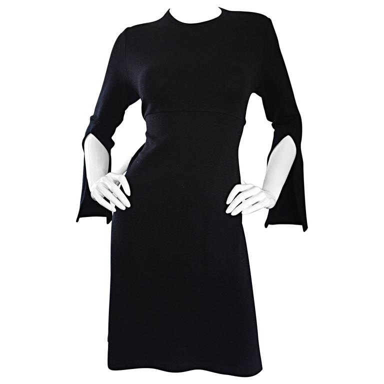 1990s Morgane Le Fay ' Slash Sleeve ' Black Long Sleeve Tie Belted Vintage Dress For Sale