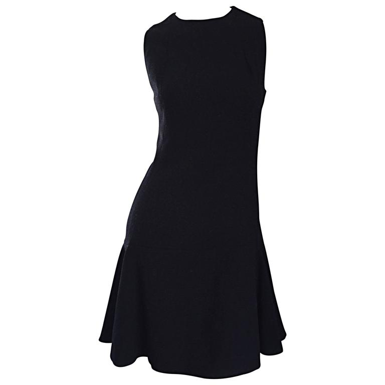1960s Geoffrey Beene Trumpet Hem Mod Sleeveless Classic Black Vintage Dress 60s