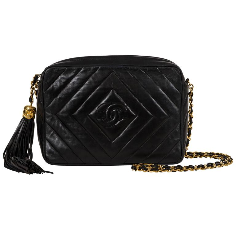 Chanel Black Chevron Cross Body Camera Bag For