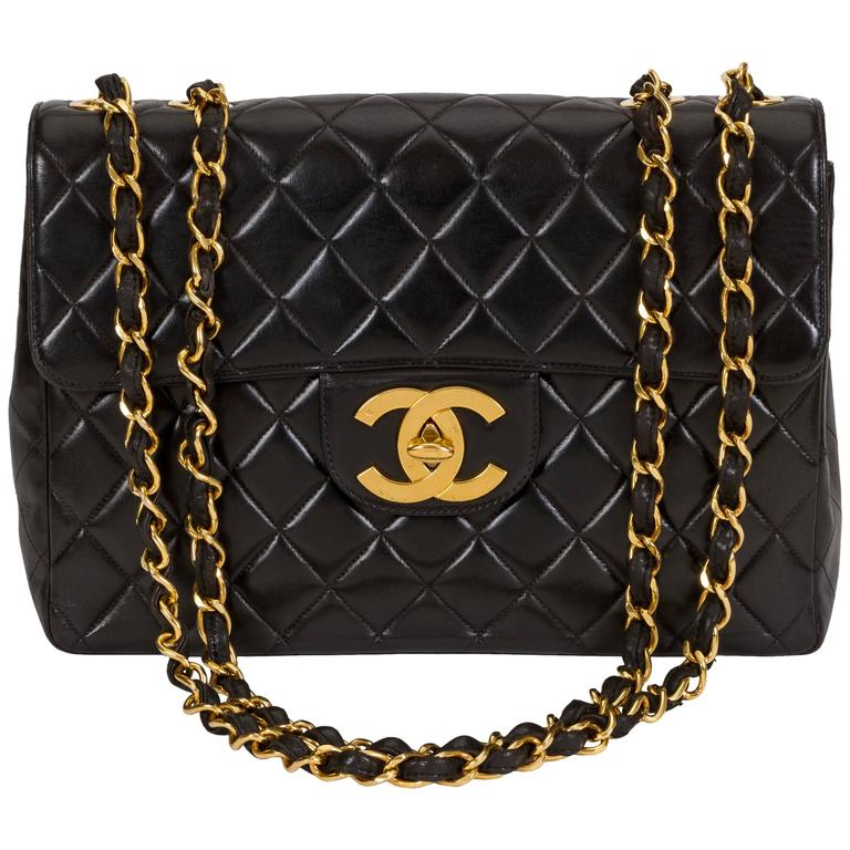 Chanel Black Jumbo With Large CC Logo Bag For Sale