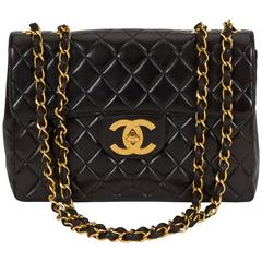 Chanel Black Jumbo With Large CC Logo Bag