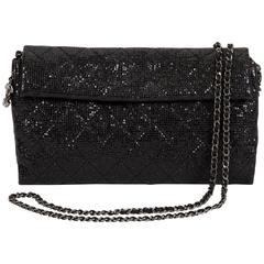 Chanel Sequin Black Cross Body Flap Bag