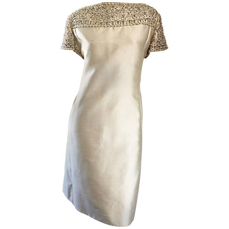 1960s Malcolm Starr Light Green Raw Silk Sequin + Beaded + Crystal A  Line Dress