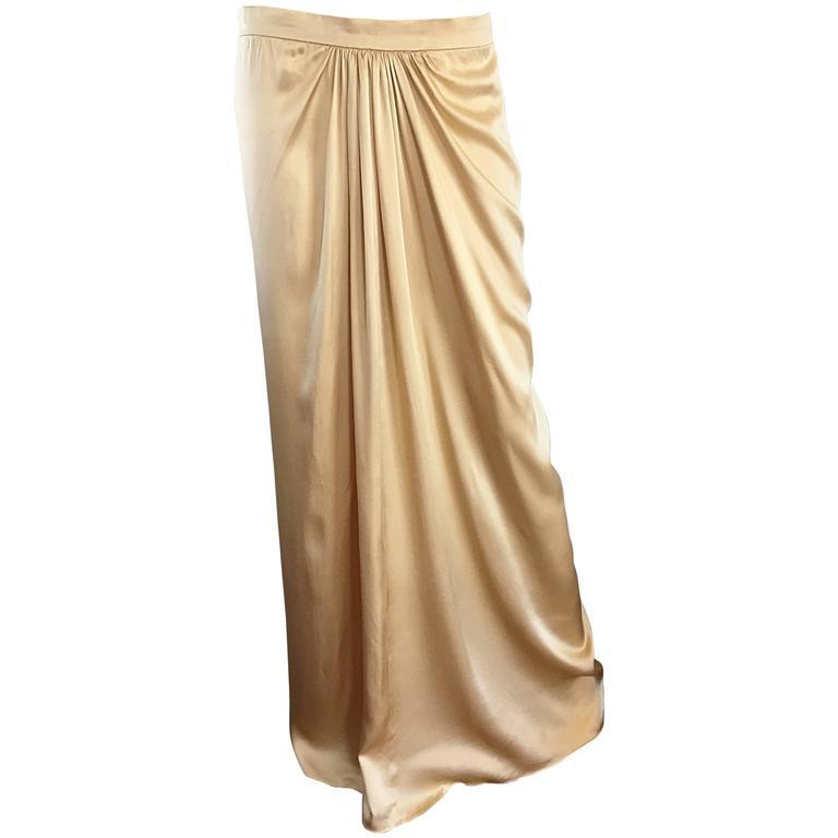 Pamela Dennis Couture Vintage Gold ' Liquid ' Silk Grecian Long Evening Skirt
