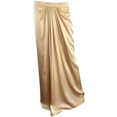 Pamela Dennis Couture Vintage Gold ' Liquid ' Silk Grecian Long Evening Skirt
