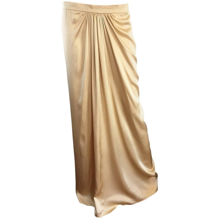 Pamela Dennis Couture Vintage Gold ' Liquid ' Silk Grecian Long Evening Skirt For Sale