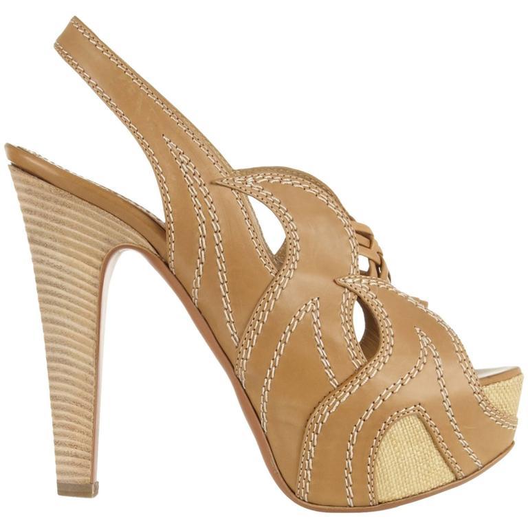 Alaia Woven Raffia Leather Peeptoe Slingback Platform High Heels