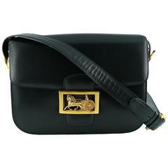 Celine Vintage Horse Carriage Buckle Navy Blue Box Leather Shoulder Bag