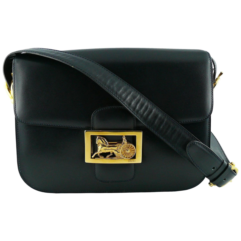 Auth Celine Calfskin Leather Belt Shoulder Handle Handbag Black Ghw