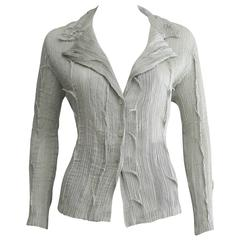 1990s Issey Miyake Fete Silver Pleated Blouse