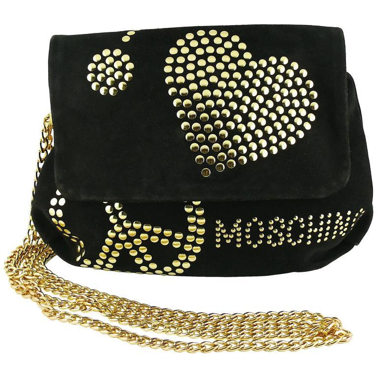 Moschino Vintage Black Suede Studded Clutch 1