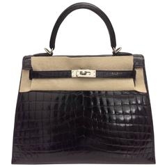 Hermes Kelly 25 Black Shiny Croc PHW