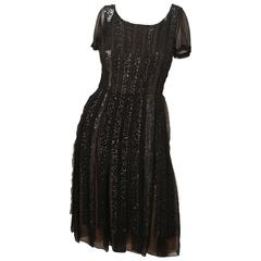 Oscar de la Renta Black Silk Dress with Sequins
