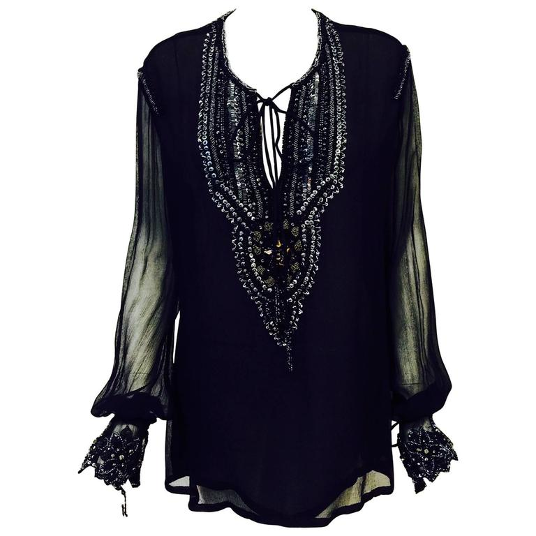 Just Cavalli Black Silk Tunic With Poet Sleeves and Metallic Embroidery