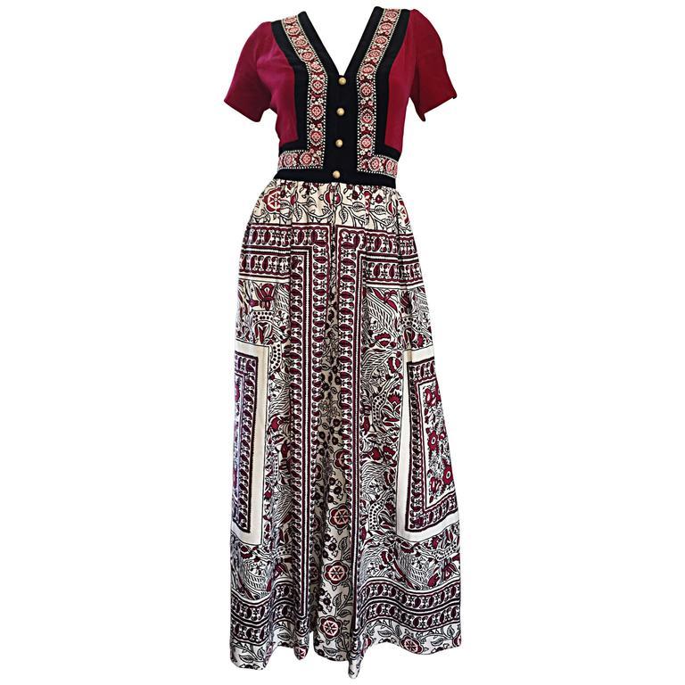 Rare 1970s Jay Morley for Fern Violette Velvet + Cotton Ethnic Tribal Boho Dress 1