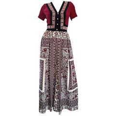Rare 1970s Jay Morley for Fern Violette Velvet + Cotton Ethnic Tribal Boho Dress