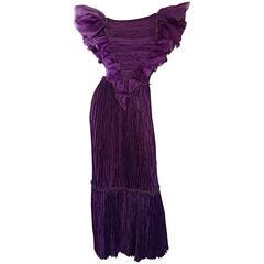 Mary McFadden Couture for Bonwit Teller 80s Purple Fortuny Pleated Ruffle Dress