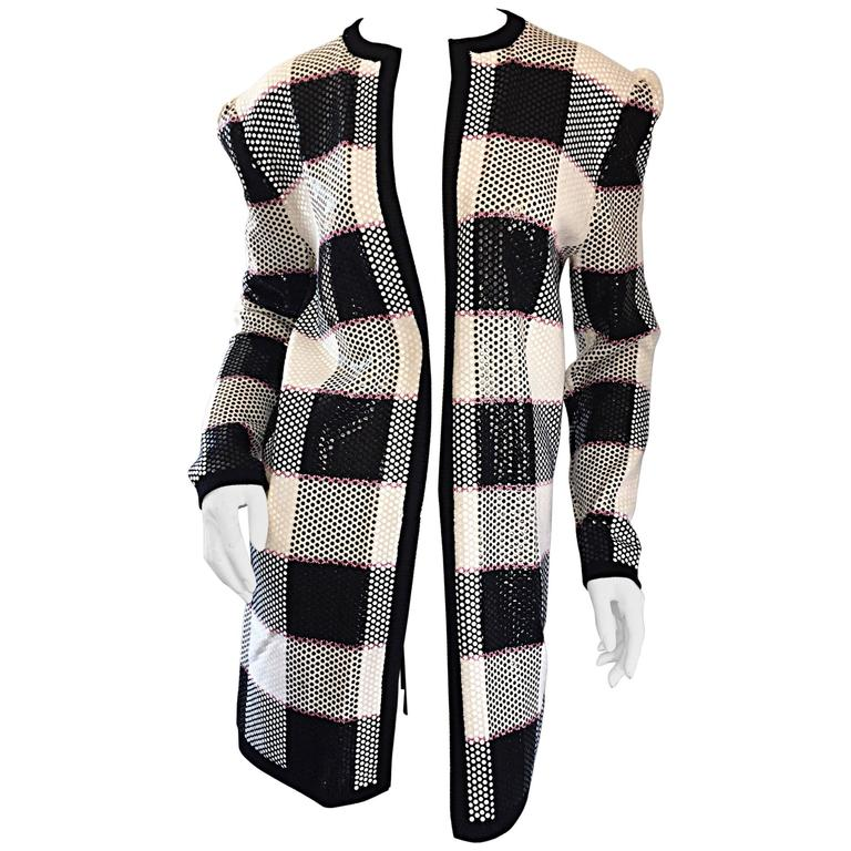 Vintage St. John by Marie Gray black + White + Pink Sequin Plaid Knit Cardigan  1