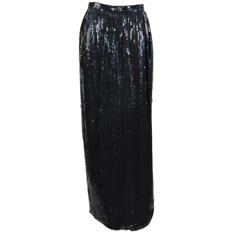 Vintage Carolina Herrera Black Sequin Maxi Column Skirt SZ 10 1