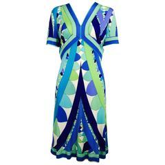 Vintage Emilio Pucci Vivara blue green aqua silk jersey print dress 1960s